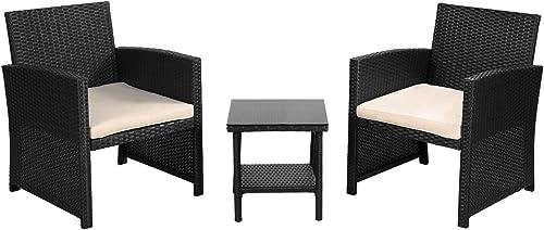 FDW 3 Pieces Patio Furniture Sets Outdoor Patio Set Wicker Bistro Set Rattan Chair Conversation Sets Patio Sofa Wicker Table Set