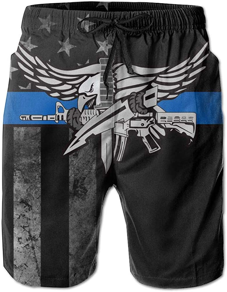 HANINPZ Police Swat Thin Blue Line Decal with American Flag Mens Swim Trunks Beach Short Board Shorts
