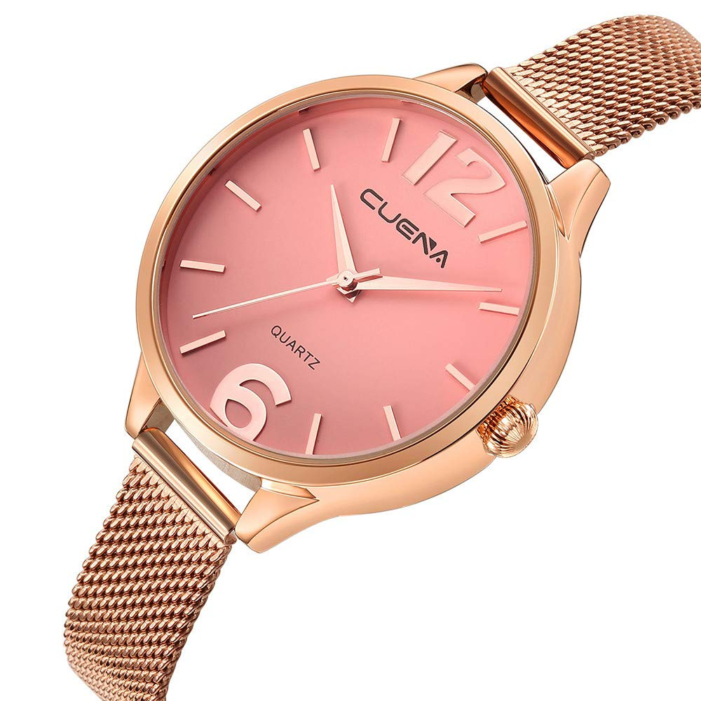 Iuhan Wrist Watch for Women Girls Holiday Deals, Women's Luxury Watches Quartz Watch Stainless Steel Dial Casual Bracelet Watch Great Gift for Christmas (Pink) by Iuhan  (Image #2)