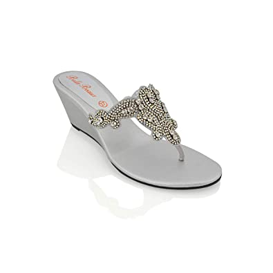94b769a0edb8ae LADIES FLAT DIAMANTE TOE POST WOMENS SPARKLEY DRESSY PARTY SANDALS SIZE 3-8  (UK 4   EU 37