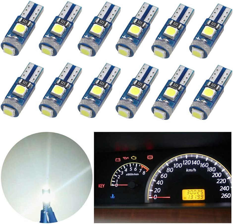Nanpoku 12pcs Newest T5 Wedge LED Bulb 74 73 17 Dash Dashboard Lights for Instrument Panel Cluster Led air conditioning AC lamp Replacement,12V 6000K 1 Year Warranty (White)