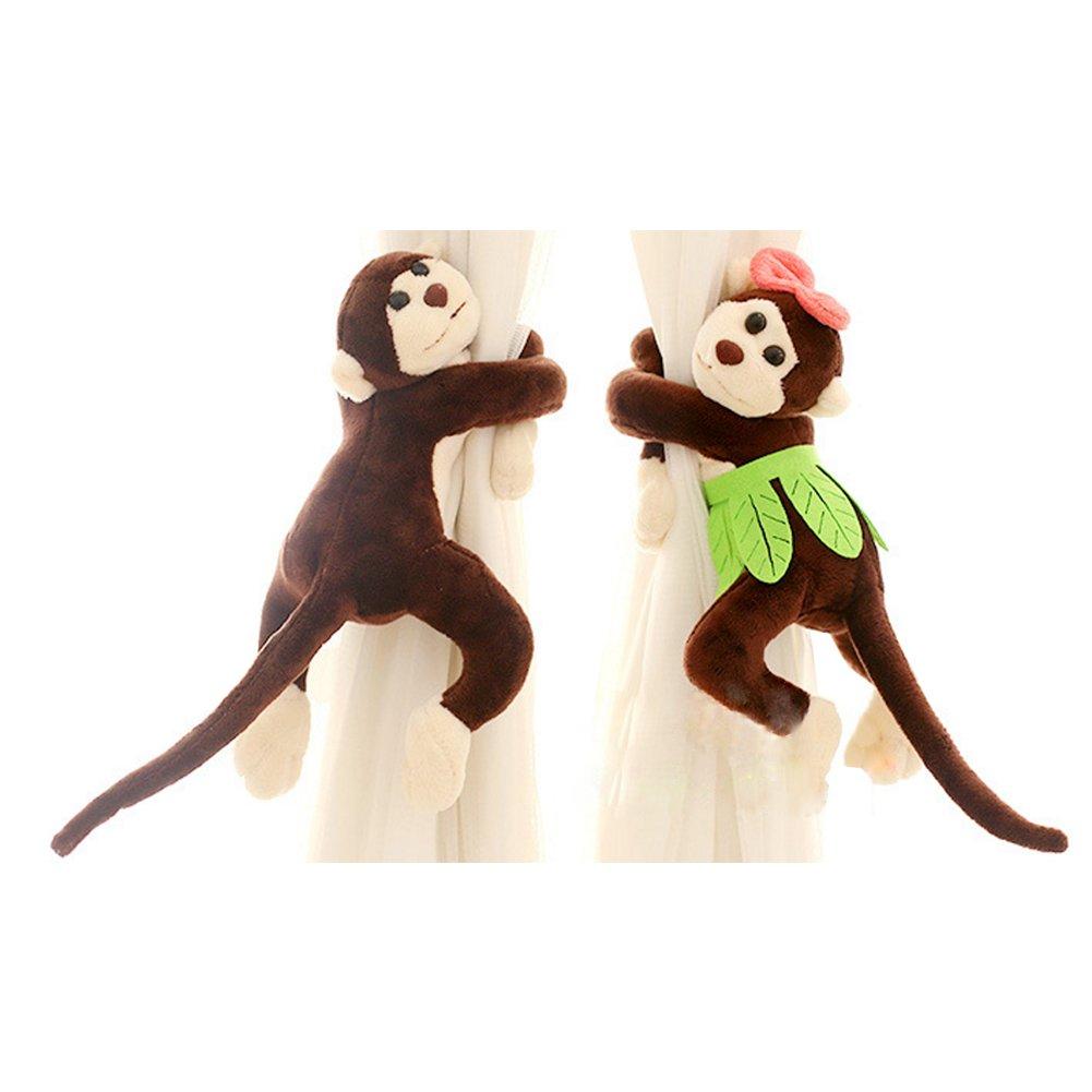 PYD 2PCS Cute Baby Kid Curtain Tieback Holder Monkey Shape Bedroom Window Screens Buckles Hook Room Decor Curtain Accessories (Brown)