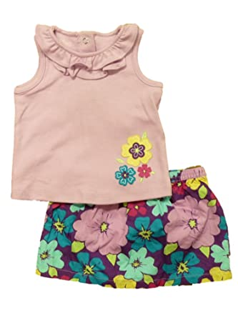 37dad176711e Amazon.com: Infant Girls Purple Floral Baby Outfit Hawaiian Flower Shirt & Skirt  Set: Clothing