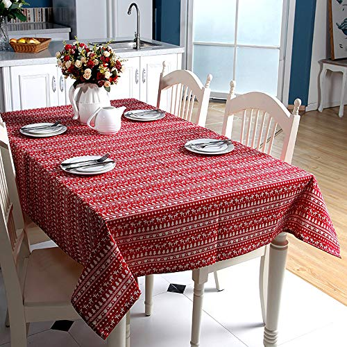 Linen Table Cloth Deer Printed Christmas Tablecloth Nappe Skin Friendly Fabric Coffee Table Cover Picnic Mat Anti Slip Home Décor -