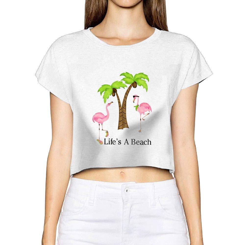 Ojinwangji Life's A Beach Flamingo Women's Short Sleeve Midriff-Baring T-Shirt Tee