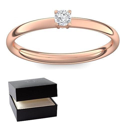 Verlobungsring Vorsteckring Rotgold Ring Diamant 585 + inkl. Luxusetui + Diamant Ring Rotgold Diaman...