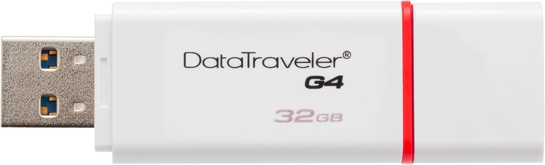 Kingston Digital 32GB Data Traveler 3.0 USB Flash Drive, Red (DTIG4/32GBET), White/Red