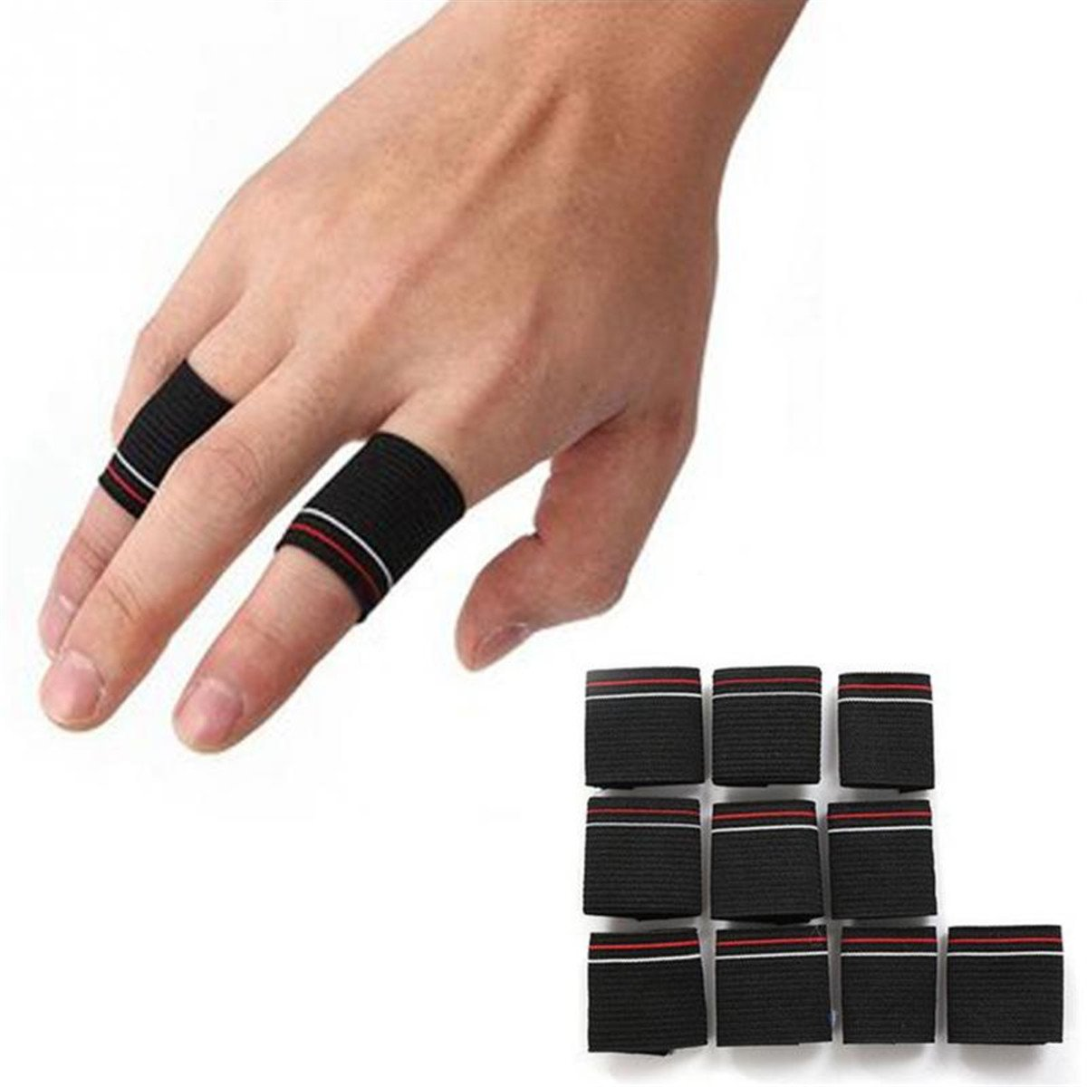 Pack of 10 Grofitness Stripe Finger Sleeves Basketball Volleyball Thumb Protector Weightlifting Exercise Finger Guard