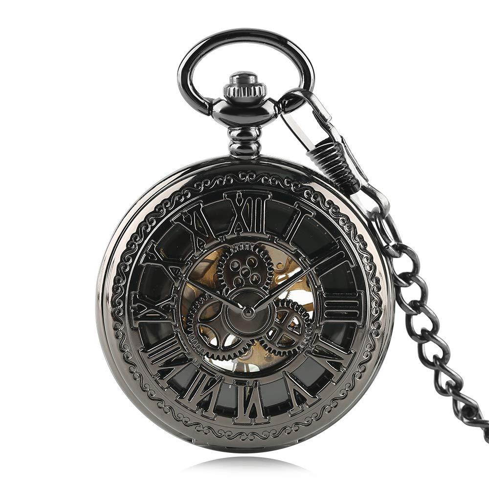 Luxury Pocket Watch, Retro Pattern Case Black Roman Number Pocket Watch, H