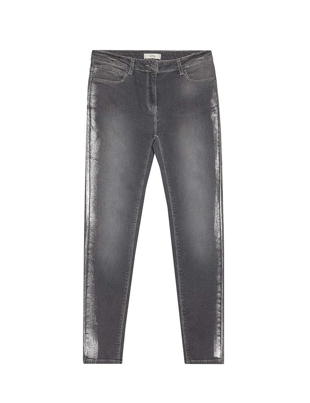 Jeans Skinny Grigio con Banda Metallizzata Italian Size Oltre
