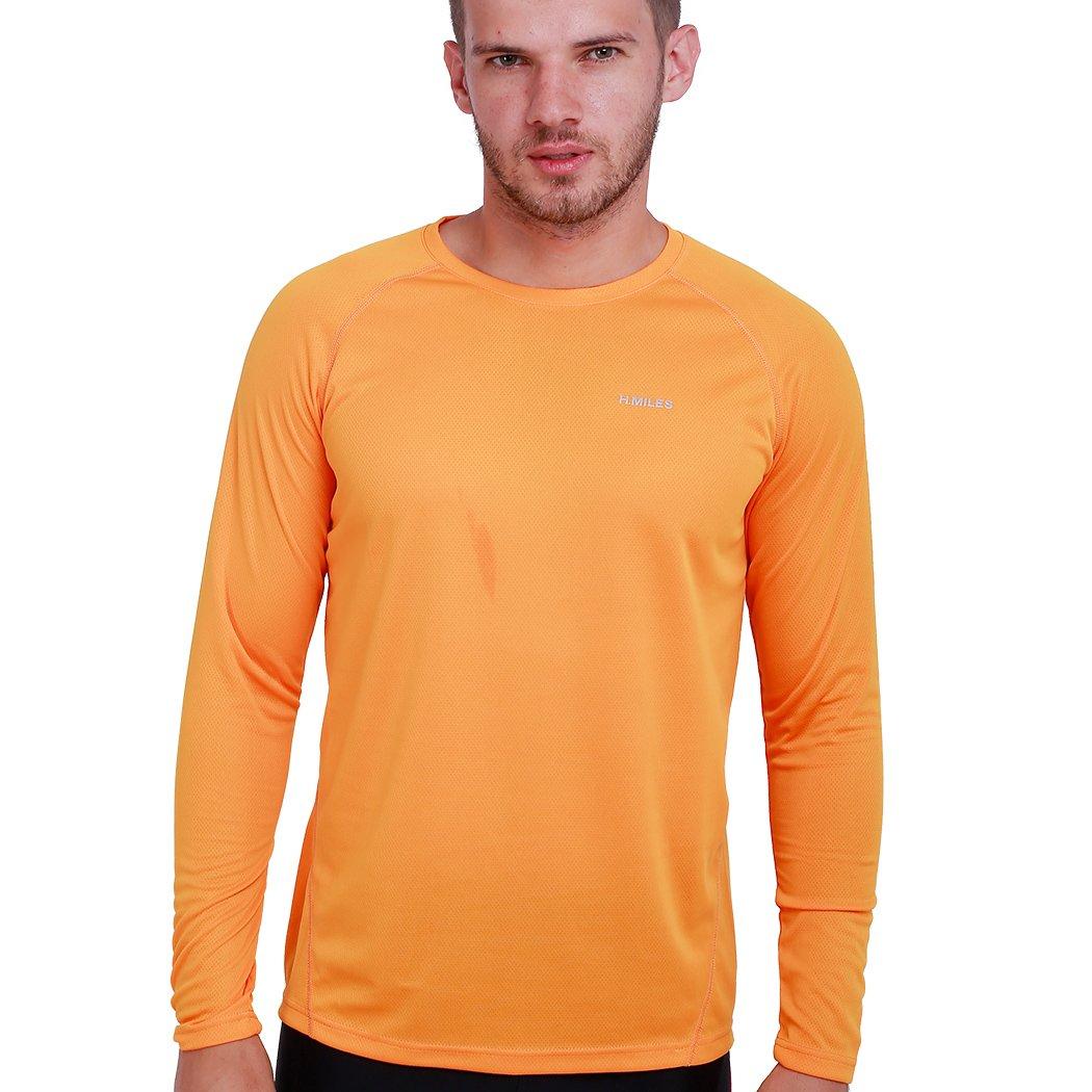 H.MILES Herren Running T-Shirt Langarm Sport Lauf Funktionsshirt Fitness Base Layer Cool Kompressionsshirt Training Tennis Sportshirt Männer Jersey