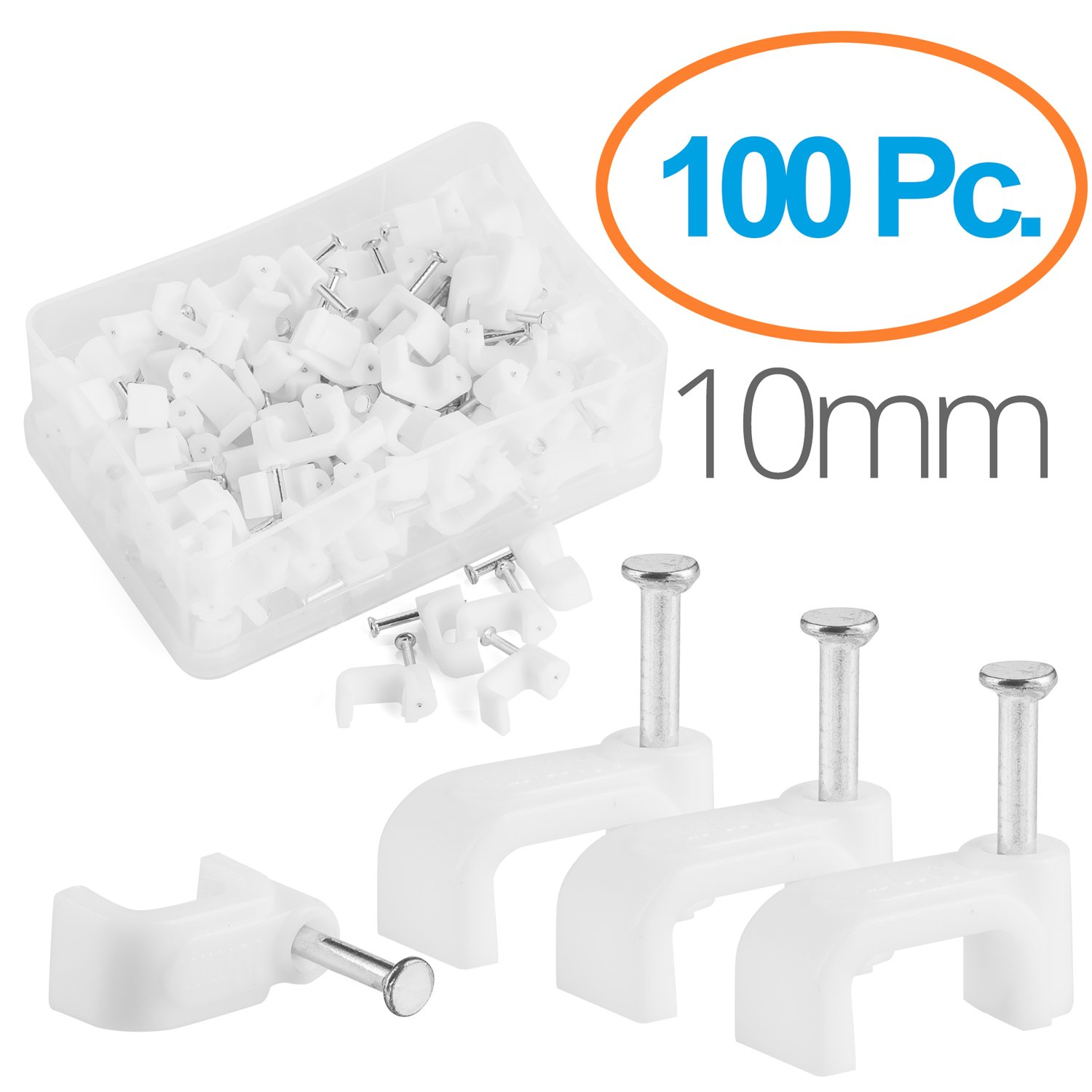 Maximm Cable Clips 100 pcs Square White – 10mm with steel nail By