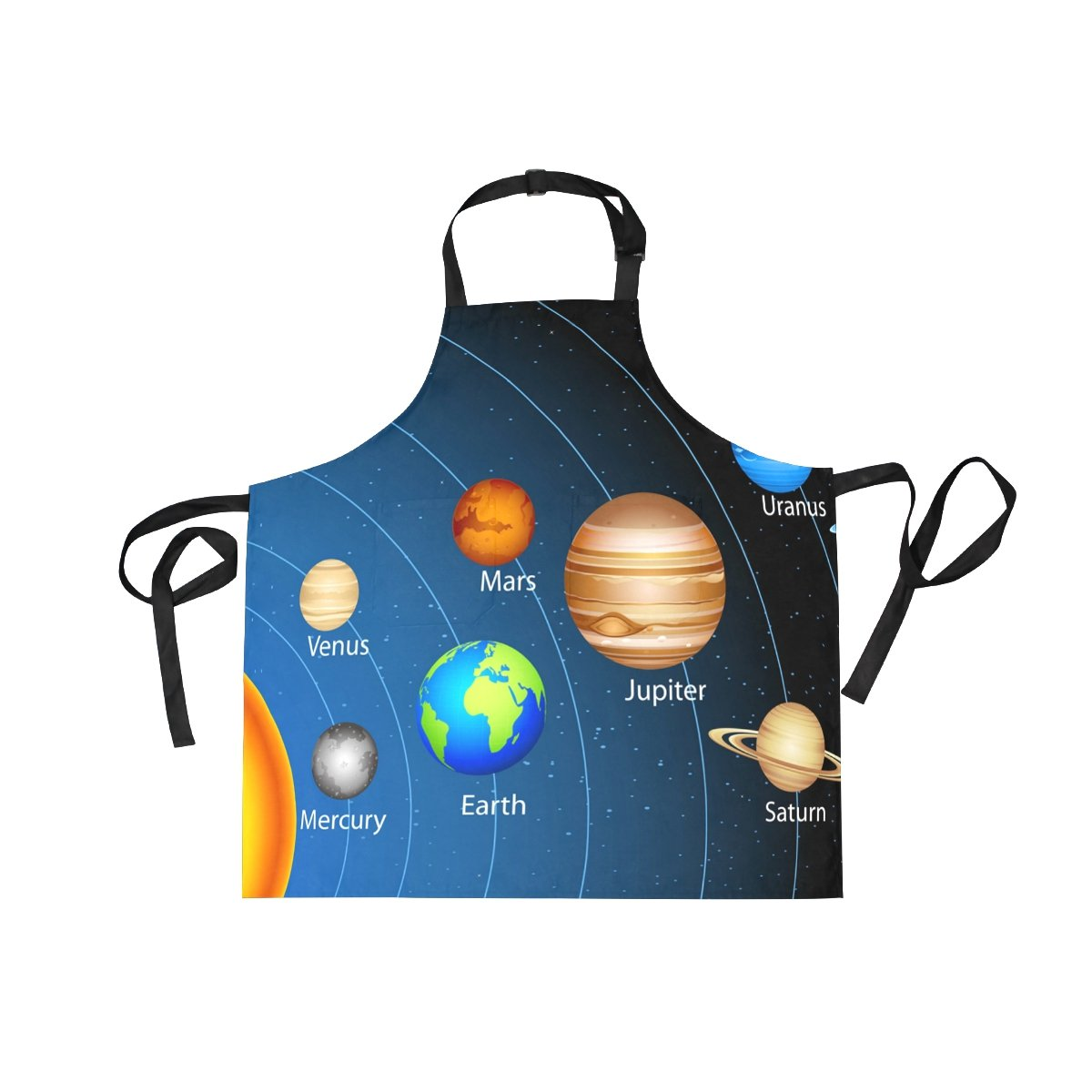 LORVIES Educational Solar System Apron Unisex Kitchen Bib Apron with 2 Pockets Adjustable Neck for Cooking Baking Gardening for Women Men Chef
