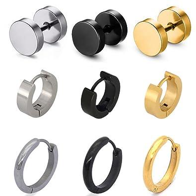 8e7af7903 Pusheng 9 Pair Stainless Steel Stud Earring Hoop Earring Set for Men  Women,Gifts for