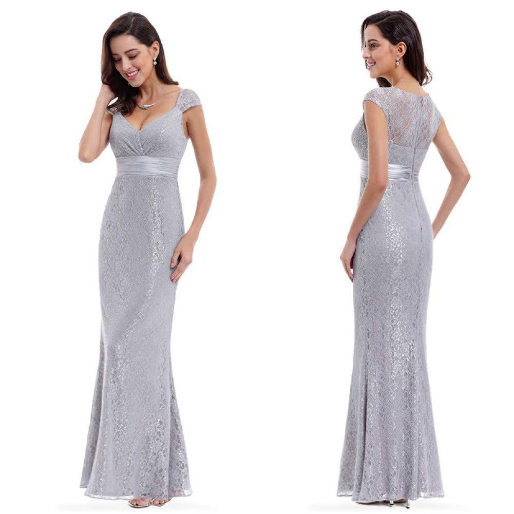 L BINGQZ Dress Cocktail Dresses Casual Grey Lace Mermaid Evening Dresses Pretty Sparkle V Neckline Elegant Peach Collar Long Evening Party Dress robe longue