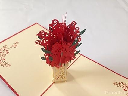 Preferenza Biglietto di auguri 3D con mazzo di rose pop-up, realizzato a mano DT32