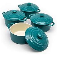 12oz Mini Cocotte, by Kook, Casserole Dish, Dutch Oven, Ceramic Make, Easy to Lift Lid, Aqua, Set of 4