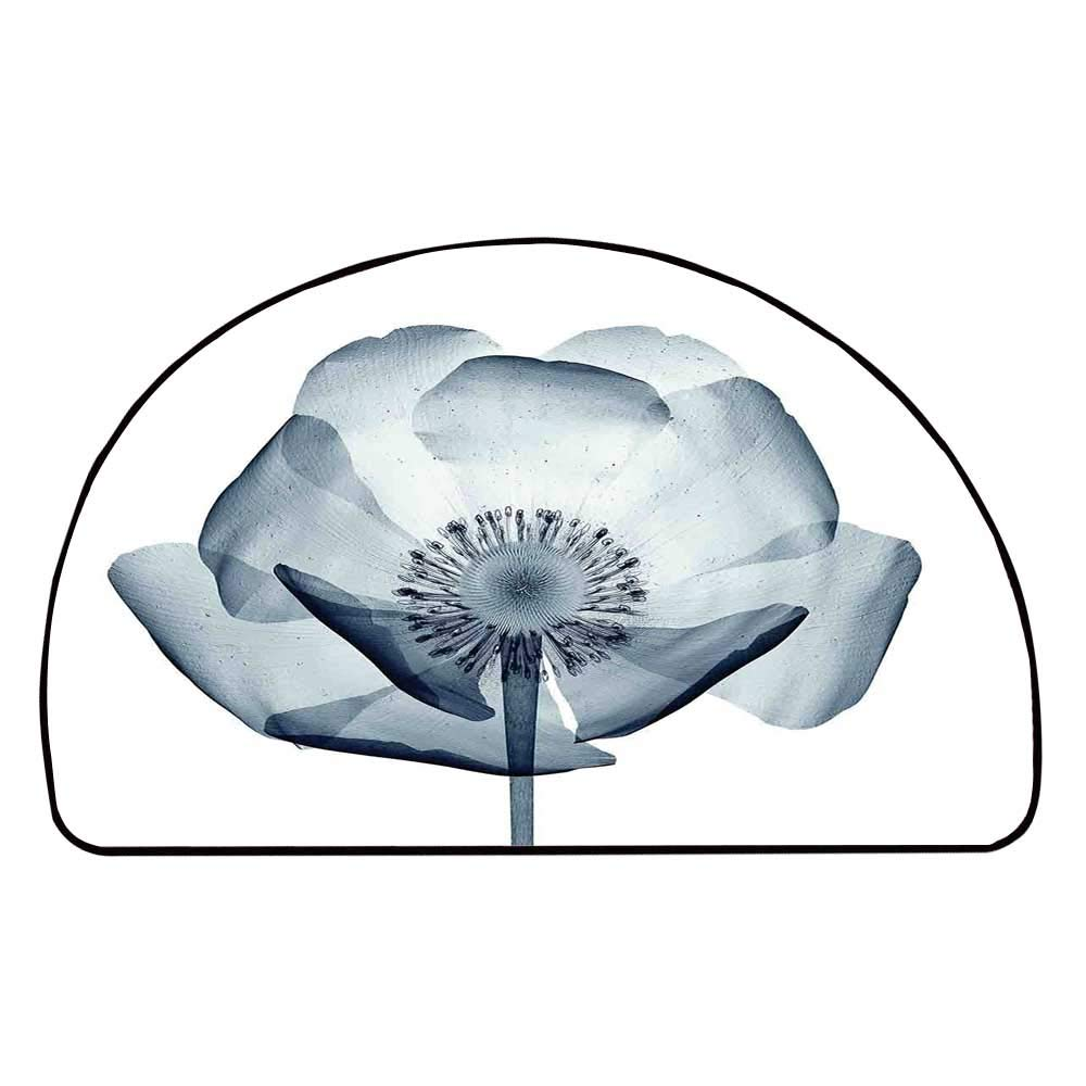 C COABALLA Xray Flower Comfortable Semicircle Mat,Closer Vision of a Poppy Flower Inner Structure of a Complex Nature Stylish Home for Living Room,11.8'' H x 23.6'' L