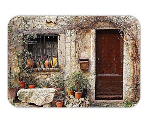 Beshowere Doormat ShutterDecor Collection Flowerpot plantin Front Yard French Hilltop Village Saint-paul De Vence Heritage Polyester Fabric Bathroom Set with HookBeige Green.jpg