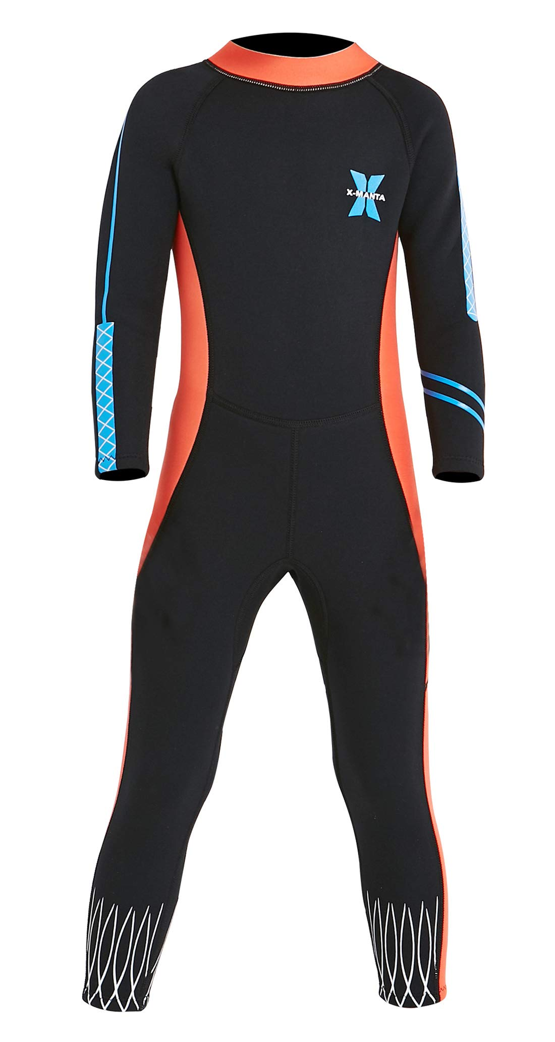 DIVE & SAIL Girls 2.5mm Diving Wetsuit Warm Long Sleeve UV Protection Full Suit Thermal Stretch Swimsuits Swimwear Black S