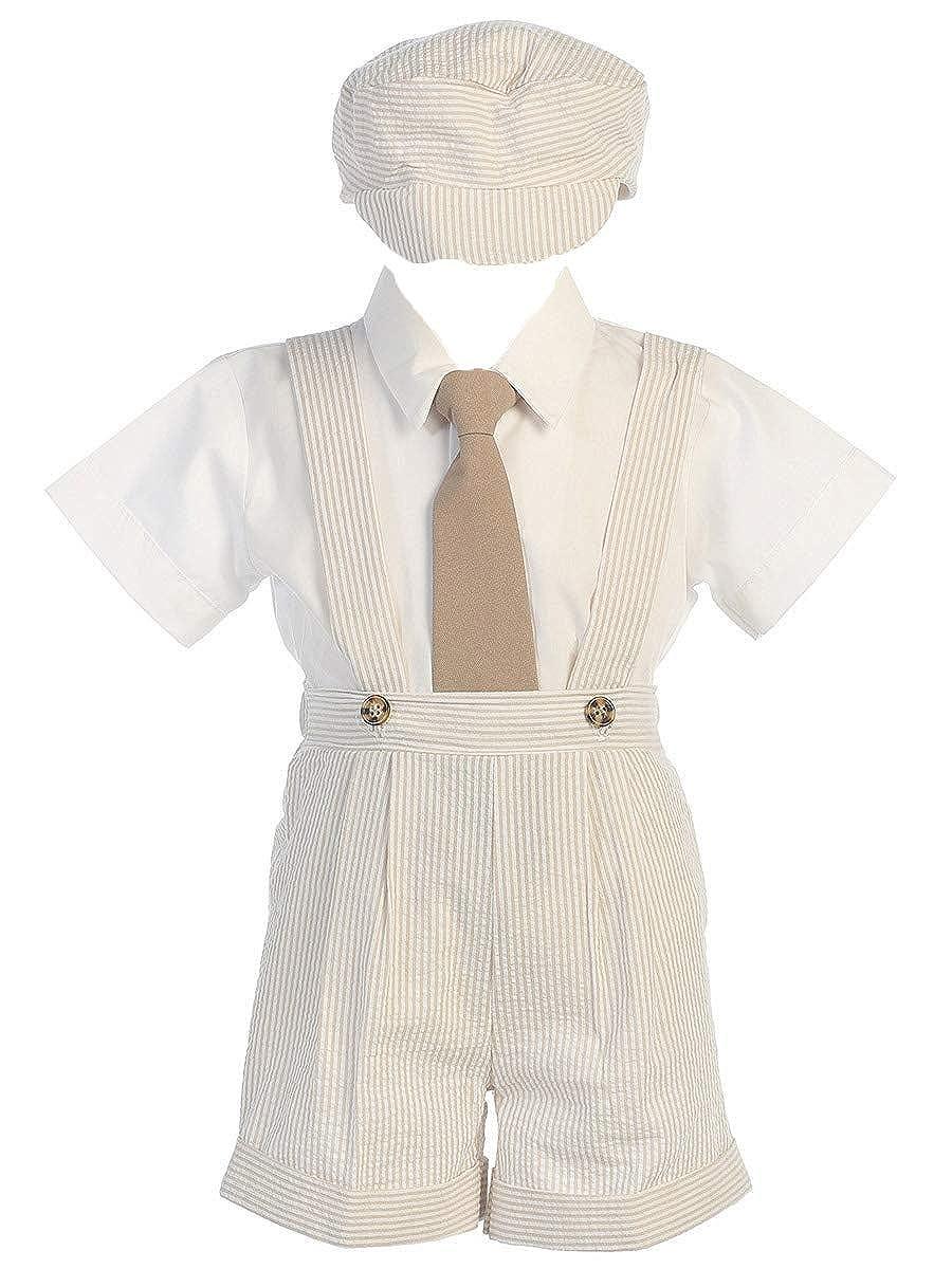 Lito Boys Cotton Seesucker Suspender Short Set