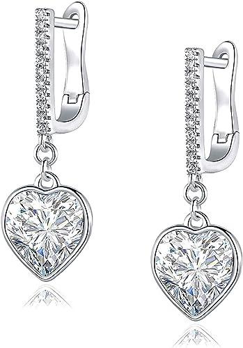 Wedding Elegant Black Rhinestone Drop Earrings 18k White Gold Filled Jewellery