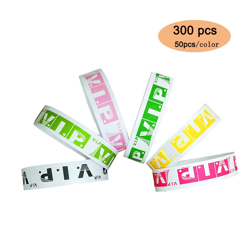 6 Colors 300 Count3/4'' Tyvek Wristbands-Black/Light green/green/rose/yellow/pink-300 Pack Paper Wristbands for Events