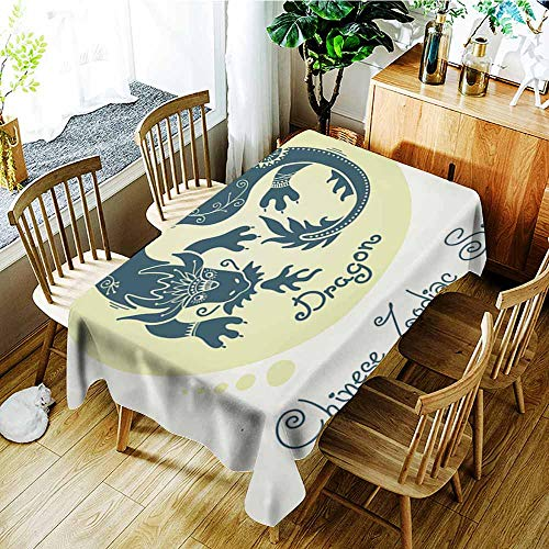 AGONIU Waterproof Table Cover,Dragon Chinese Zodiac Sign,High-end Durable Creative Home,W60X90L