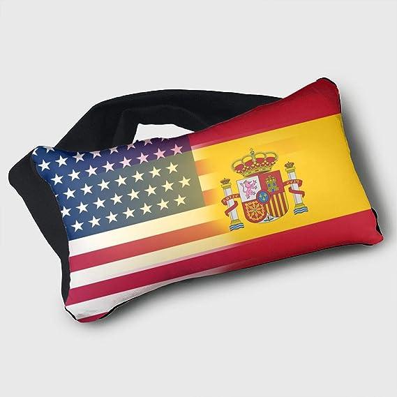 GLing-LIFE - Cojín de Viaje portátil con Bandera de España y máscara de Ojos, 2 en 1, Soporte para la Cabeza del Cuello para Aviones, Coches, servilletas de Oficina, Camping, Trenes: Amazon.es:
