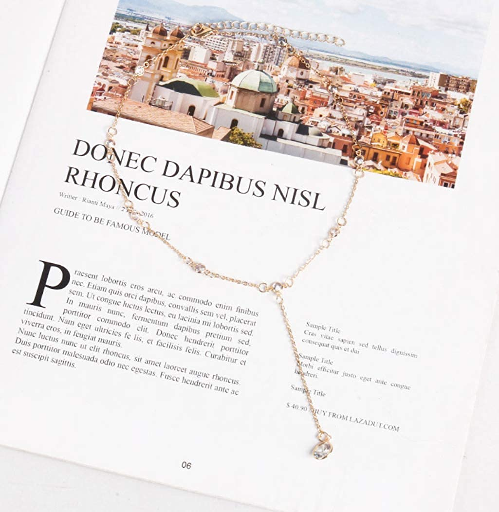 Haiyuan Ladies Necklace Simple Temperament Crystal Necklace Clavicle Chain Female Japan and South Korea Personality Neck Necklace Neck Neck Belt Choker Collar Chain