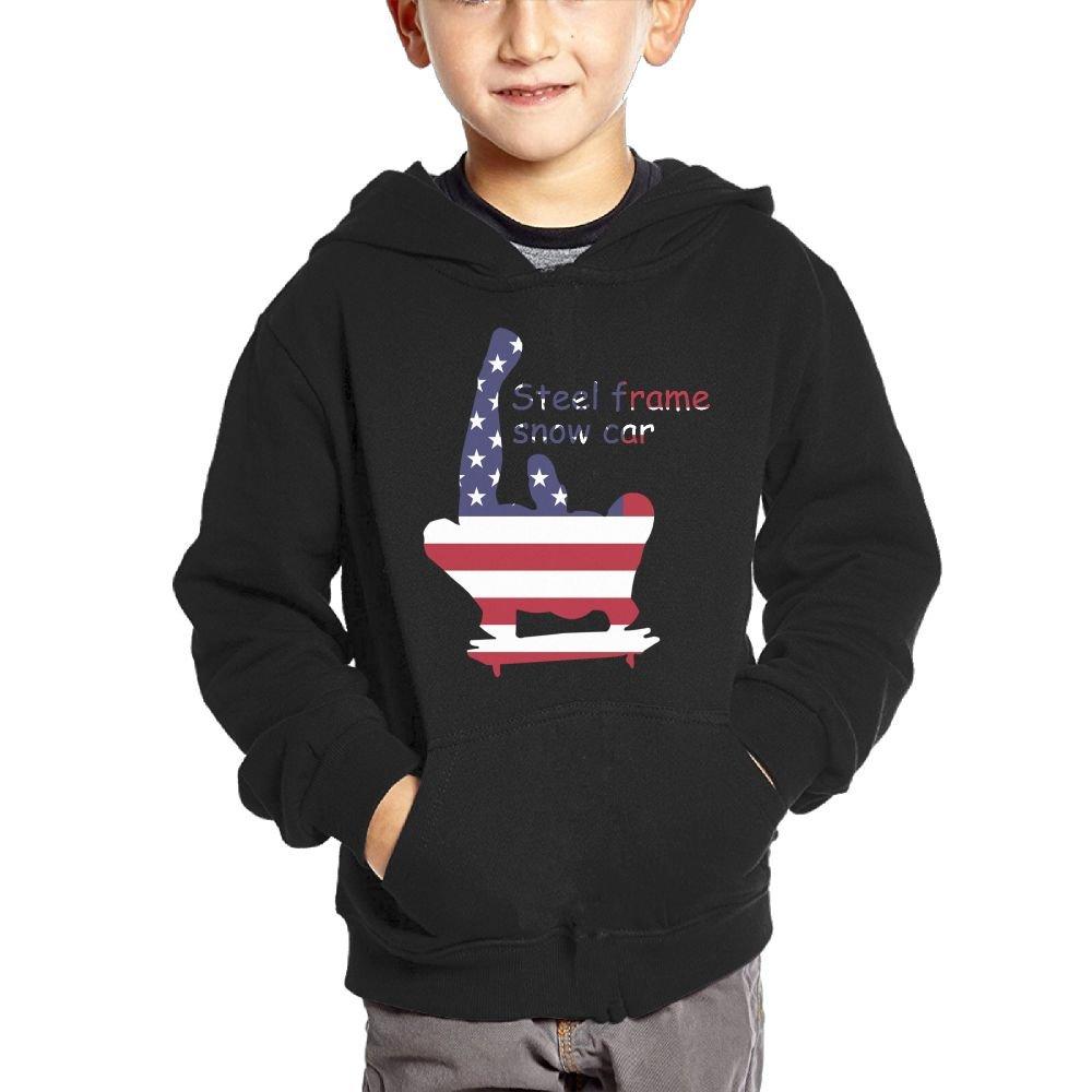Small Hoodie Steel Frame Snow Car American Flag Boys Casual Soft Comfortable Sweatshirts Pocket Hoodies