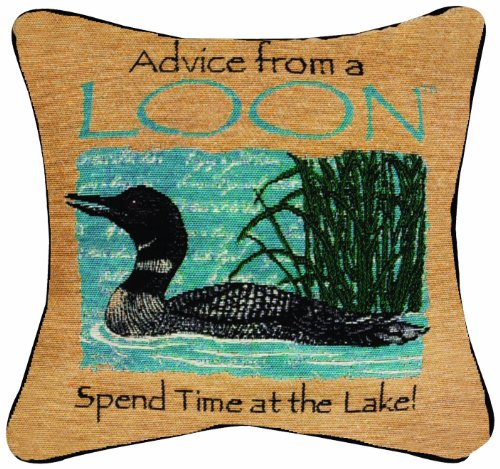 Manual Advice From a Loon Pillow, 12-1/2-Inch Square