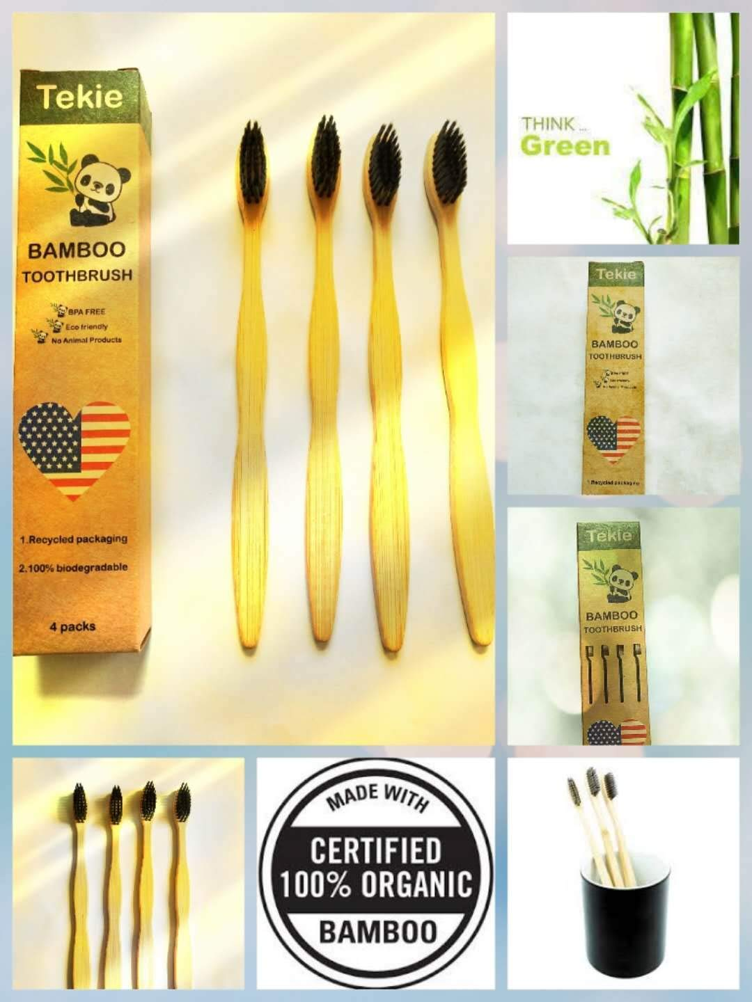 tekie 4 Environmental Bamboo Toothbrushes 100% Natural Organic Biodegradable and Vegan cost-effective Soft Free Nylon Bristles Fibre Wooden Handle