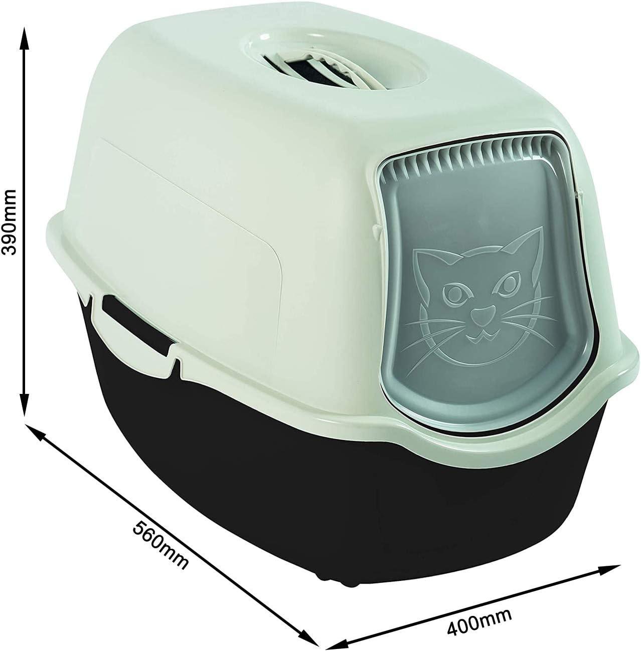 Rotho Bailey, Caja de arena con capucha y solapa, Plástico PP sin BPA, blanco y negro, 56.0 x 40.0 x 39.0 cm