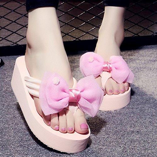 Mujeres Señoras Sandalias Tacones altos Fashion skid flip Pistas gruesas con zapatillas de playa Sandalias de playa con muchos colores y tamaños Cómodo ( Color : 1004 , Tamaño : 34 ) 1002
