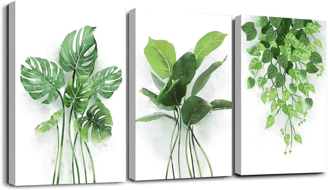 "Bathroom Decor Wall Art for Living Room - Bathroom Pictures Wall Decor Botanical Prints Artwork ,Canvas Art 12"" x 16"" 3 Pieces Canvas Prints with Wooden Border Ready to Hang for Home Decoration"