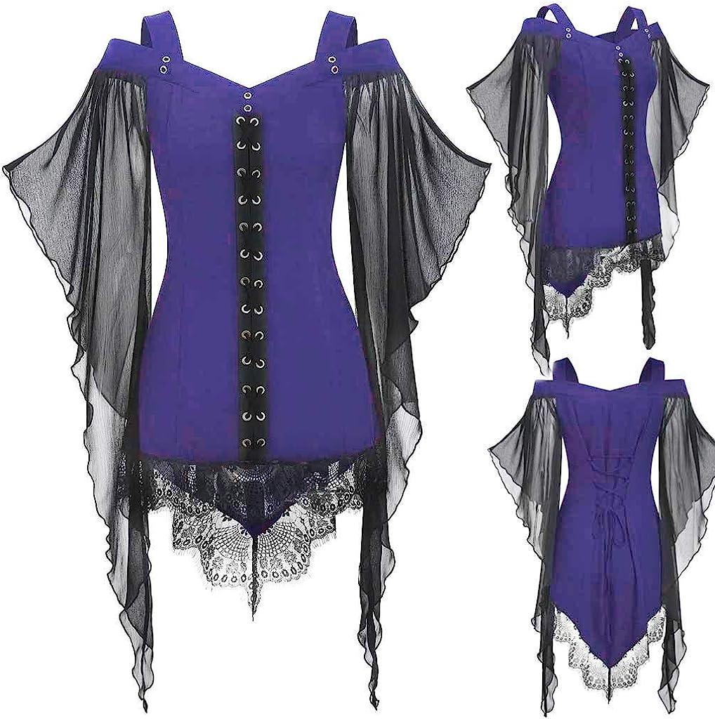 Camisa Cruzada gótica de Encaje para Mujer Elegante Camiseta de Manga Mariposa túnica de Talla Grande Tops Blusa Camiseta de Fiesta Vintage Baile Morado M: Amazon.es: Ropa y accesorios