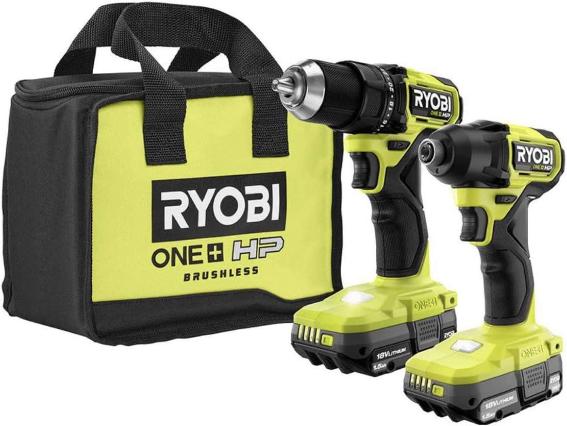 Ryobi ONE+ HP 18V Brushless Cordless Compact 1/2 in. Drill and Impact Driver Kit with (2) 1.5 Ah Batteries, Charger and Bag
