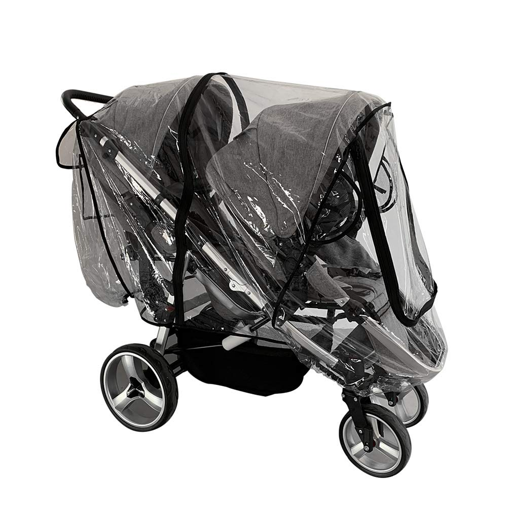 Weather Shield for Front and Rear Double Stroller.Universal Double Stroller Rain Cover by Ezkindheit