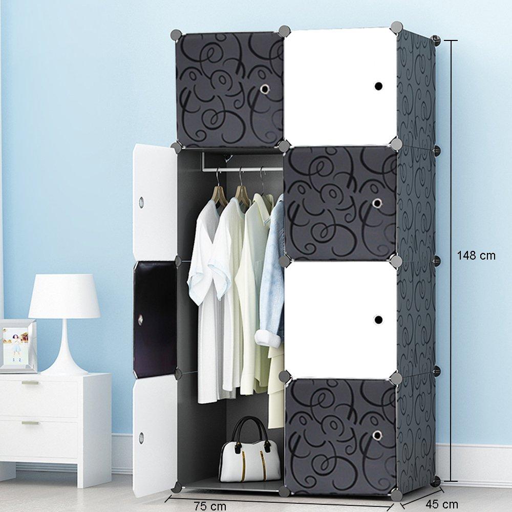 ETTBJA DIY Plastik Schrank Portable Kleiderschrank Mit schwarz-weiß ...