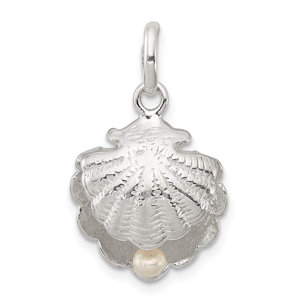24mm x 15mm Mia Diamonds 925 Sterling Silver Solid Seashell with Simulated Pearl Pendant