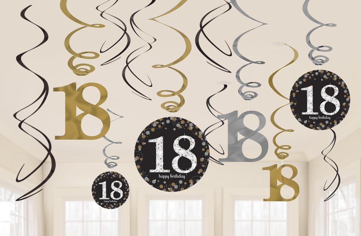Amscan, 9900558- Decorazioni a spirale, per 18° compleanno, colore: oro Amscan Internatinal Ltd