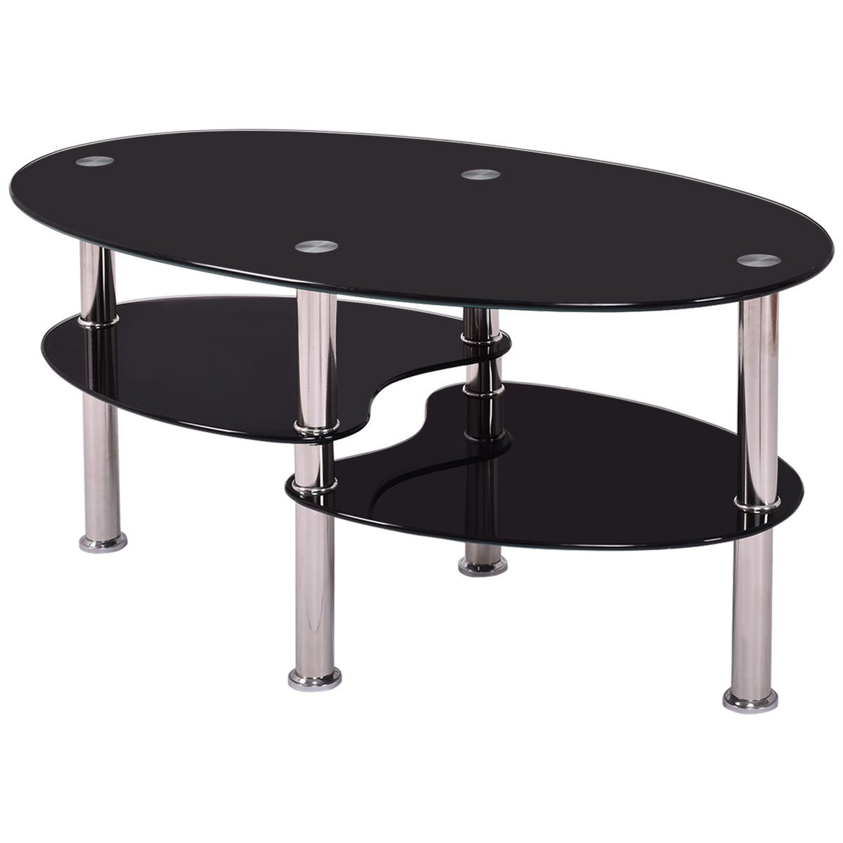 TANGKULA Glass Coffee Table 2-Tire Modern Oval Smooth Glass Tea Table End Table for Home Office with 2 Tire Tempered Glass Boards & Sturdy Chrome Plated Legs