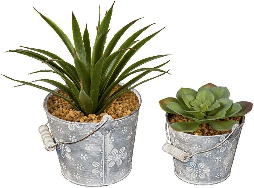 Zinc Bucket Planters with Flower Patterns, Set of 2 Product SKU GD229162