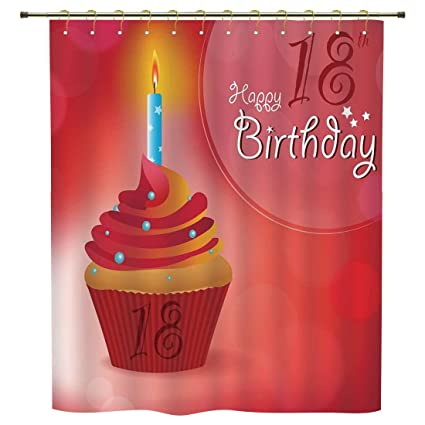 IPrint Shower Curtain18th Birthday DecorationSweet Eighteen Party Cupcake With Candles