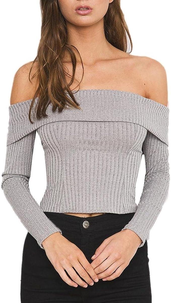Schulterfrei Oberteile Damen Langarm Gro/ßE Gr/ö/ßEn Bluse mit Pailletten,Kanpola Elegant Longbluse Slim Fit T-Shirt Herbst Winter