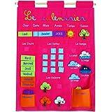 Ludi 2095 - Calendario educativo de tela para colgar, color rosa [importado de Francia]