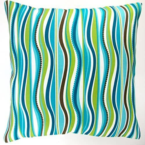 Amazon.com: Artisan Pillows Indoor/ Outdoor 18-inch Blue Green Stripe Modern Caribbean Coastal ...