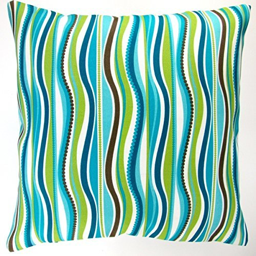 Artisan Pillows Indoor/ Outdoor 18-inch Blue Green Stripe Modern Caribbean Coastal Beach House Throw Pillow (Set of 2)