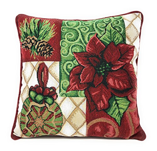 Tache 1 Piece 16 x 16 Inch Green Red Christmas Festive Tapestry Holiday Tidings Decorative Ornaments Poinsettia Throw Pillow Cushion Cover